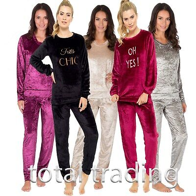 womens ladies pyjamas lounge wear crushed and smooth velvet fashion twosies