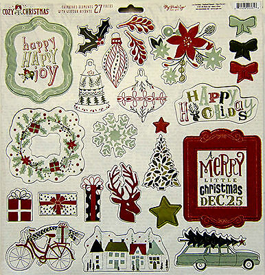 "My Mind's Eye ""Cozy Christmas""  12x12 Chipboard Elements with glitter - Save 35%"