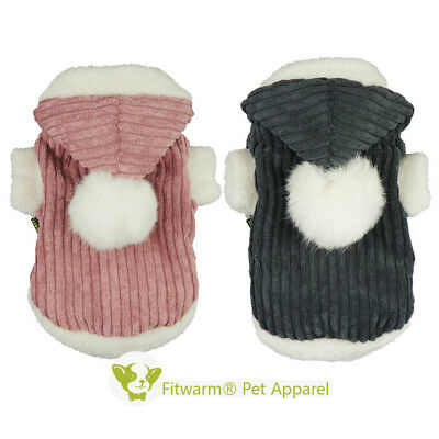 Fitwarm Corduroy Winter Dog Coat Fleece Pet Clothes Hooded Jacket Warm Outfit