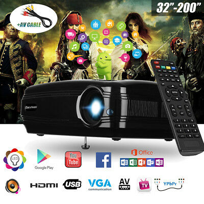 WiFi Bluetooth Android 6.0 3200 Lumen Projector 1080P 3D Home Cinema Theater AU