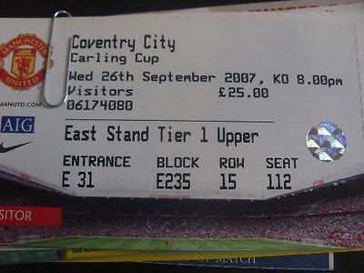 26/09/2007 Ticket: Manchester United v Coventry City [Football League Cup] (Comp