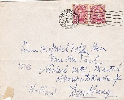Wwi 1917 Belgium Opened By Censor Cover Posted Antwerp To The Hague Holland 31*
