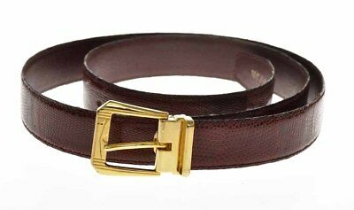 Vintage unisex genuine burgundy lizard belt (100/115cm) 29mm high new old stock