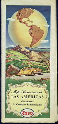 ESSO OIL VINTAGE ROAD MAP THE AMERICAS Ca. 1950