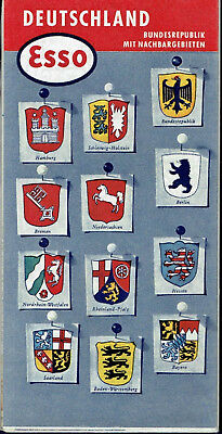 Esso Oil Vintage Road Map Germany 1958