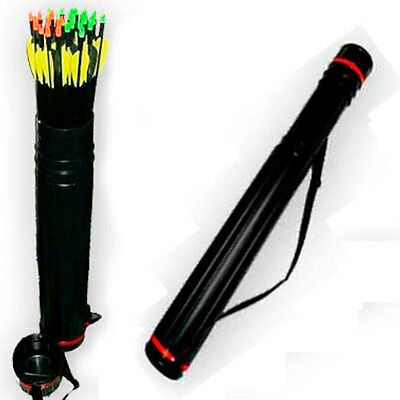 New Extendable Telescopic Archery Arrow Back Shoulder Quiver Holder Tube + Strap