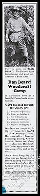 1930 Dan Beard photo Woodcraft Camp Outdoor School Suffern NY Boy Scouts ad