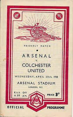 Arsenal v Colchester United (Friendly) 1947/8