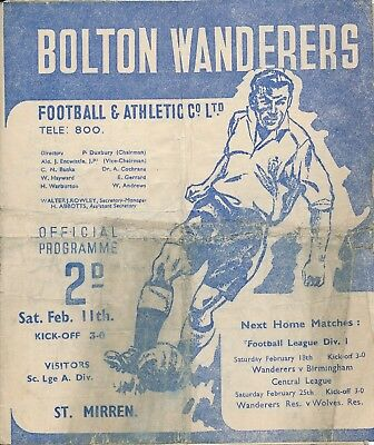 Bolton v St Mirren (Friendly) 1949/50