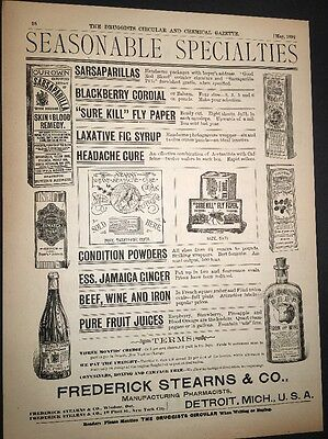Frederick Stearns Detroit Druggists Illustrated 1892 Ad Drugs chemists
