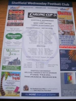 20/09/2005 Colour Teamsheet: Sheffield Wednesday v West