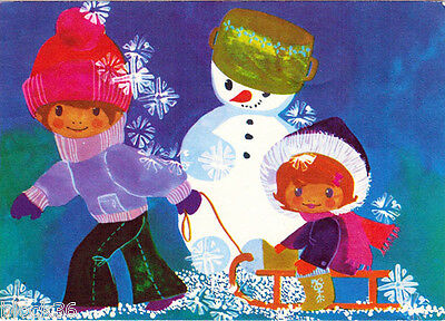 1976 German Christmas postcard (FROHES FEST) Lovely children and Snowman