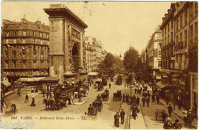 ca 1908 French postcard BOULEVARD ST - DENIS in Paris (France --> Russia)