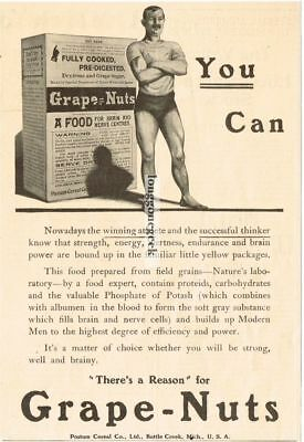 """1907 Postum Grape-Nuts """"You Can"""" Vintage Print Ad"""