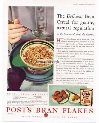 1929 Post Wheat Bran Flakes Cereal Vtg Print Ad with muffin recipe
