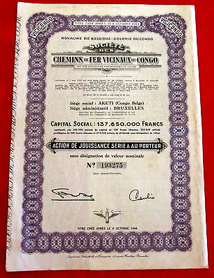 Vicinaux Railways Congo Stock Certificate with 22 coupons 1944 u