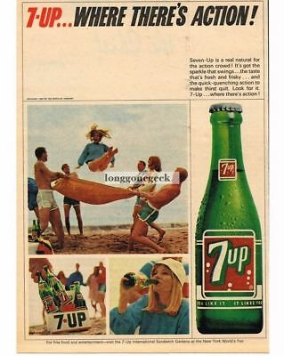 1965 7 UP Blanket Tossing a Girl Vtg Print Ad