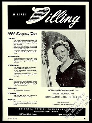 1955 Mildred Dilling photo harp recital tour trade booking ad