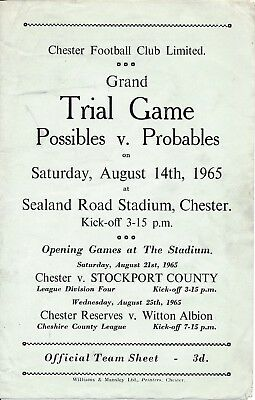 CHESTER: Probables v Possibles (Public Practise 14.08) 1965