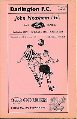 Darlington v Crystal Palace (1st season League Cup) 1960/1