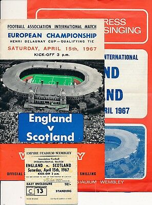 England v Scotland 1967 Programme, Ticket & Songsheet
