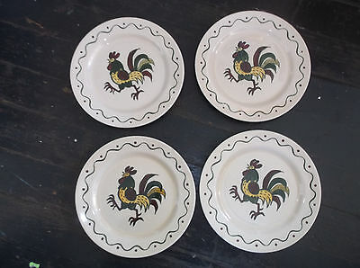"""4 Metlox CALIFORNIA PROVINCIAL Luncheon Plates 9"""" Pottery Rooster"""