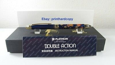 New Platinum Double 3 Action 3 in 1 Maki-e Blue Maple Leaf Multi Function Pen