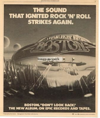 1978 BOSTON Don't Look Back Vtg Album Promo Print Ad