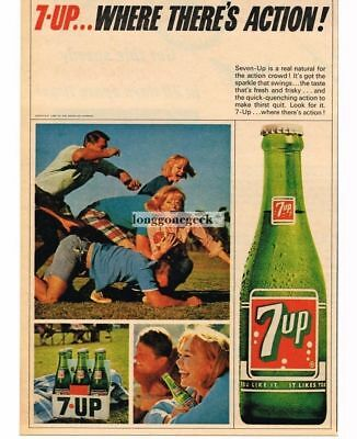 1965 7 UP Boys Girls Playing Football Vtg Print Ad