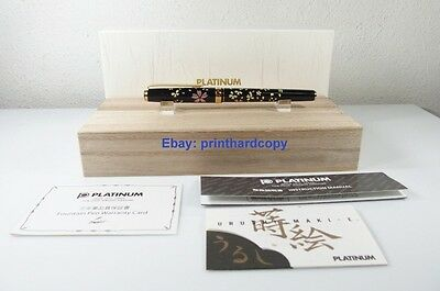 New Platinum Maki-e Slim Swirling Petals Of Cherry Blossom  Fountain Pen 18k