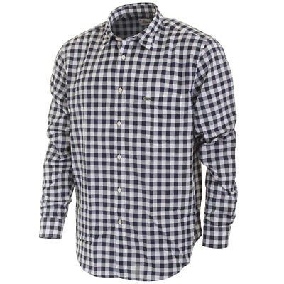 Lacoste Mens Classic Fit LS Gingham Check Shirt - Boreal Blue - Size 38 - S