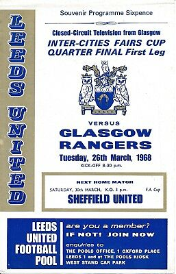 Leeds United v Rangers (Fairs Cup) 1967/8 4 page CCTV programme from Ibrox game
