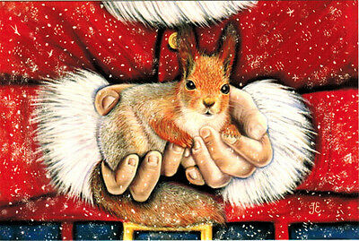 SANTA'S GIFT Little Squirrel Modern Russian postcard