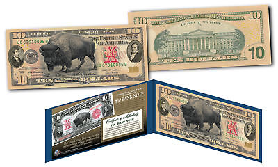 Bison Buffalo / Lewis & Clark 1901 $10 Banknote on Modern Genuine $10 U.S. Bill
