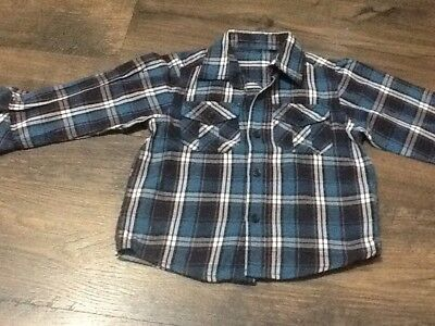 Baby Boys Size 18-24 Months Blue Checked Long Sleeved Shirt