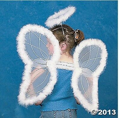 Childs White Marabou Costume Angel Wings & Halo~Christmas Nativity Play Pageant