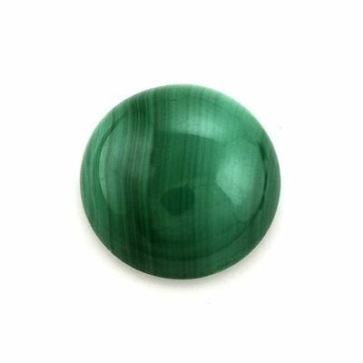 A PAIR OF 8mm ROUND CABOCHON-CUT NATURAL AFRICAN MALACHITE GEMSTONES