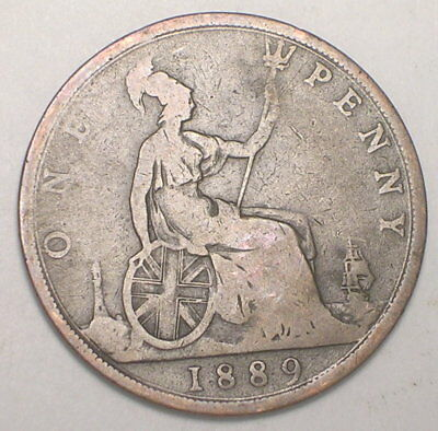 1889 UK Great Britain British One 1 Penny Queen Victoria Coin
