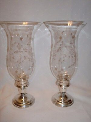 Pair Birks Sterling Cornflower Hurricane Candle Holders
