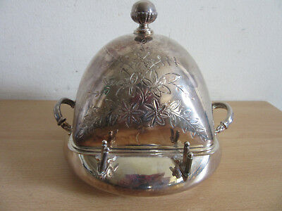 Antique Victorian Quadruple silverplate Wilcox lidded butter dish #3266