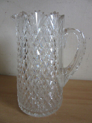 Antique American Brilliant heavy cut glass pineapple pattern water pitcher 9""