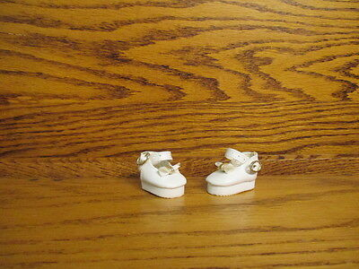 """1-3/4"""" Doll Shoes White Mary Janes Soft Pvc Vinyl For Ooak & Reborn Baby Clothes"""