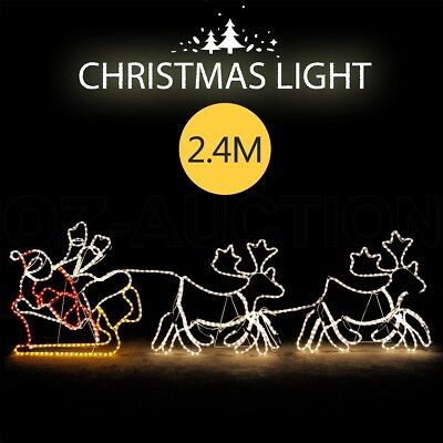 New Santa Claus Sleigh Riding Reindeer Christmas Decoration Lights Xmas Lighting