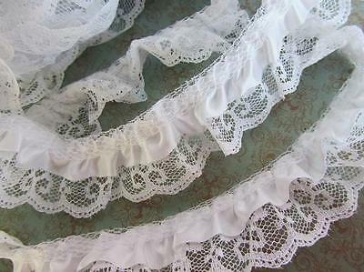 5 yards Satin White French Lace Trim//2 Layers Ruffle//sewing//notion//sew T39-Black