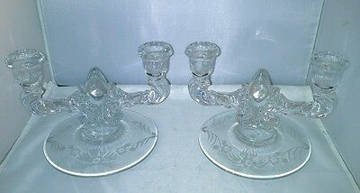 Cornflower W J Hughes 2 Double Candle Holders Floral Wheel Cut Clear Glass