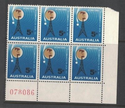 1965 Australia ITU Centenary SG 376 block six sheet number
