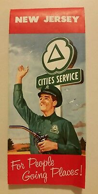 1959 Cities Service New Jersey Vintage Road Map