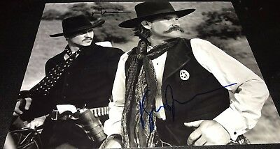 Kurt Russell & Val Kilmer Tombstone B&W Signed 11x14 Autographed Photo COA Proof