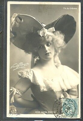PX149 ARTISTE STAGE STAR Miss AGNES BURTON Large HAT PHOTO d'ART BOYER 1904