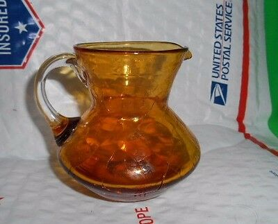 Vintage Amber Crackle Glass with Clear Applied Handle Small Pitcher Creamer